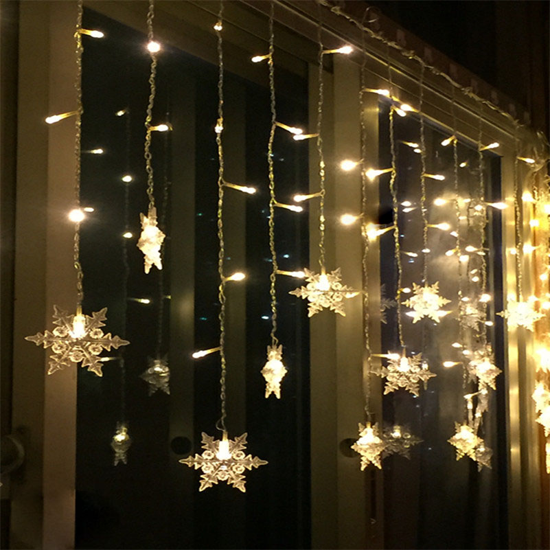 Tanbaby Christmas Snowflake Curtain Lights 3.5M 5M Holiday Fairy String Light with 8 mod ...