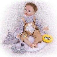 55 cm Silicone Reborn Baby Doll Material soft bebe boy Reborn Dolls Lifelike cloth body Bonecas girls Toys For kids Bithday Gift