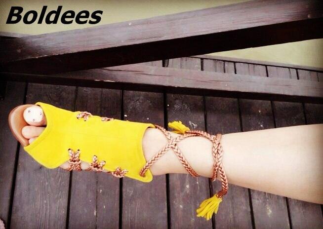 Sandales Robe Talon Lacent Chic Arrivée Fringe Toe Cheville jaune De Pu Stiletto Couleur Assortie Femmes Gland Style Ciel Corde Suede Nouvelle Peep 8qUFw