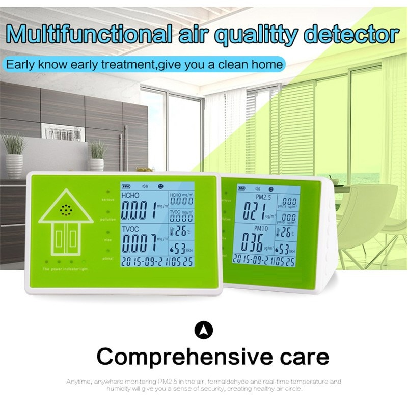 free shipping 2016 Indoor air quality pm2.5 monitor/PM10 Meters/VOC and HCHO Meters factory supply air quality monitor for indoor voc and formaldehyde monitor