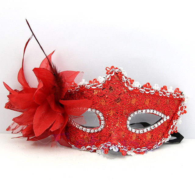 Red Lace Venetian Mask