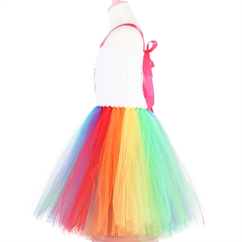 Lovely Flower Girls Colorful Ball Gown Dress Rainbow Princess Tutu Dress Set Children 39 s Wedding Performance Costume 3 10Y in Dresses from Mother amp Kids