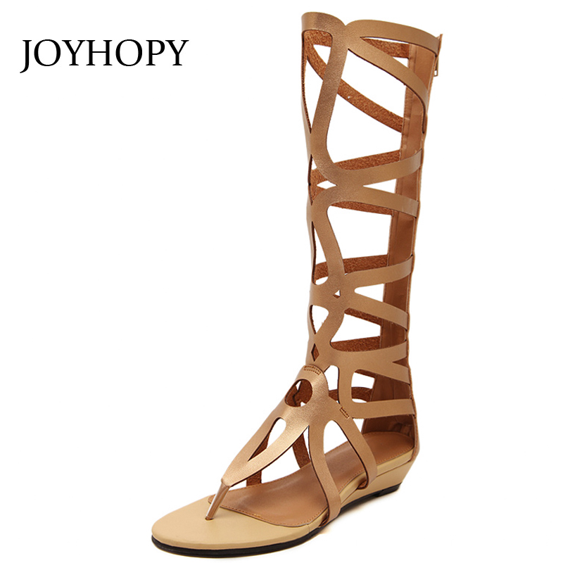 2018 Summer Pinch Toes Low Heel Sandals Boots Women Split Leather Wedges Shoes Ladies Hollow Long Tube Gladiator Sandals AWS070