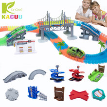Magical Glowing Race Track Arch Bridge Turntable DIY Racing Tracks Assembly Educational Toys Car Toy Glow Racing Track Set Gift(China)