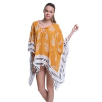 Yellow And White Lightweight Kimono Style V Neckline Chiffon Newest 2016 Beach Cover Dress L38363