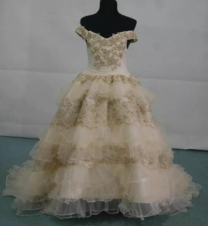 2019 New Champagne Tulle Beaded Lace Flower Girl Dress Appliques Layered Ball Gown Girls Birthday Pageant Gown Actual Picture color block layered beaded bracelet