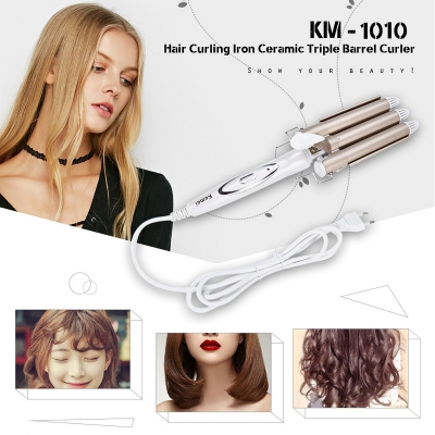Personal Care Appliances Home Appliances Realistic Hair Curler Curling Iron Perm Splint 3 Barrels Big Waver Ceramic Hair Curlers Rollers Triple Barrel Styling Tool Deep Wave S50 Wide Varieties