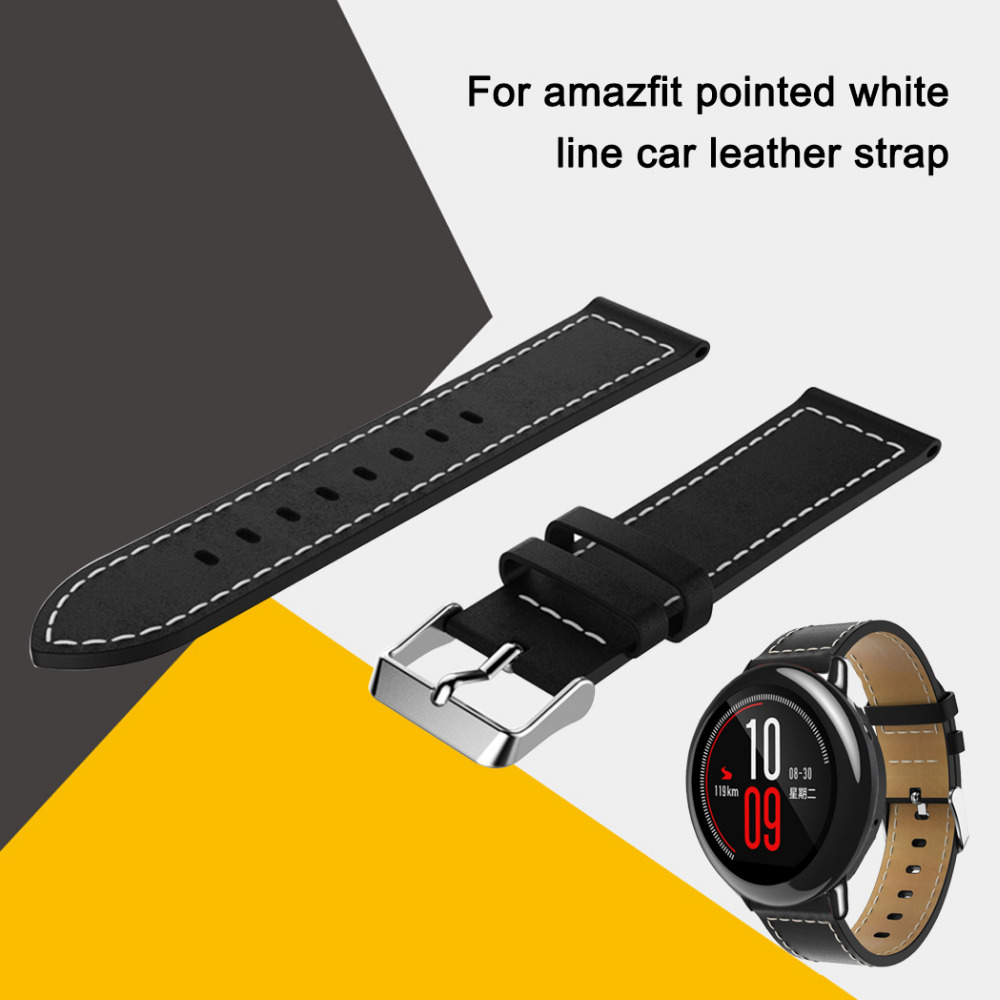 Hangrui replacement leather watch bracelet strap for Xiaomi Huami Amazfit bip pace lite 22mm smart wrist band belt accessories xiaomi huami smart watch amazfit bip [english version] sports watch pace lite bluetooth 4 0 gps heart rate 45 days battery ip68