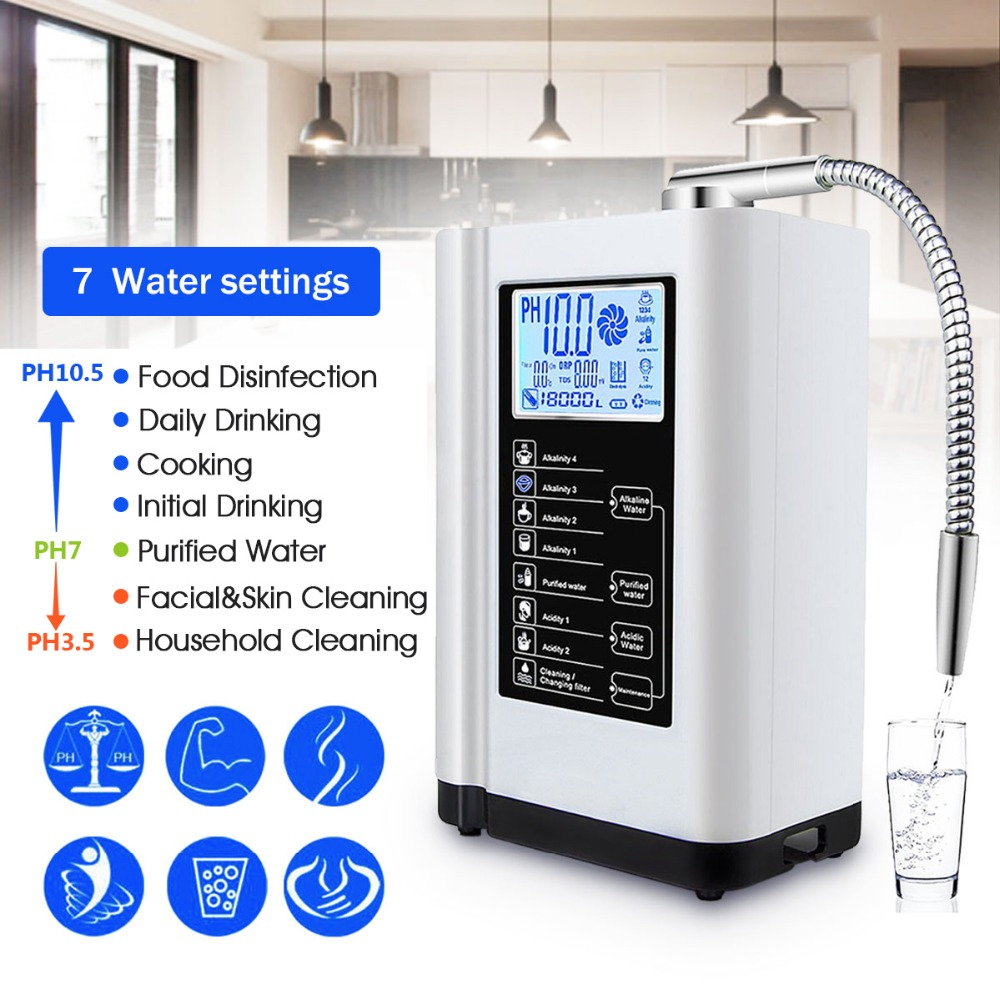 Water Ionizer Purifier Filter LCD Touch Control Alkaline Acid Machine PH 3.5-10.5 Auto-Cleaning 6000L Filter Water Purification 3 plate water ionizer alkaline water machine wth 803