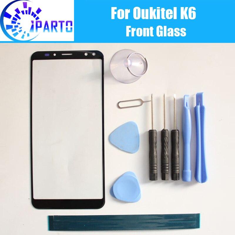 Oukitel K6 Vorderglasschirm-objektiv 100% Ursprüngliches Vordernotenglastafel Outer-objektiv für Oukitel K6 Telefon + Werkzeuge