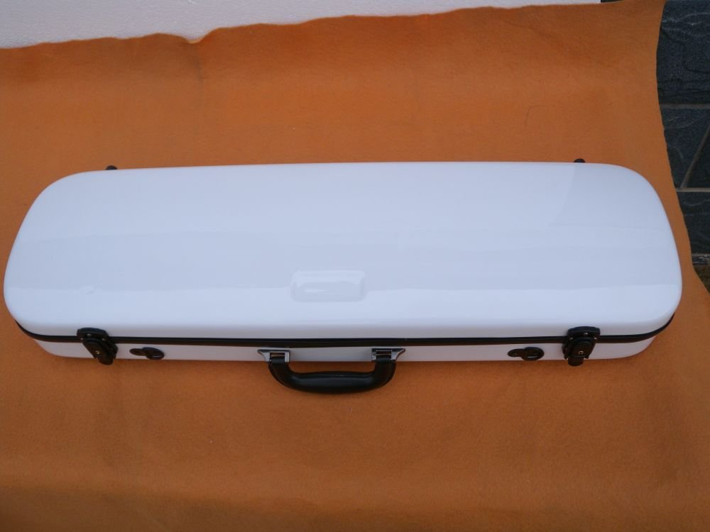 white 4/4 New Violin Case Fiber Glass Strong Light #119 white blue stitching color 4 4 glass fiber violin case