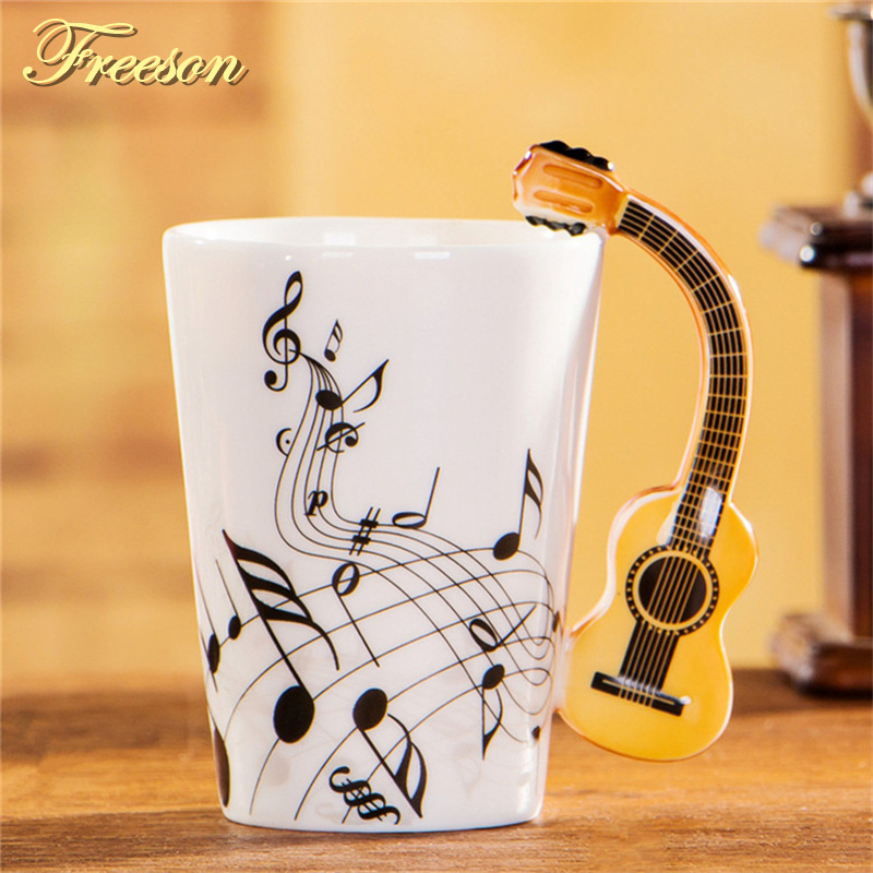 240/400ml Creative Acoustic Guitar Mug Music Coffee Cup Ceramic Beer Mug Cafe Coffee Mug Porcelain Tea Cup Tumbler Decoration
