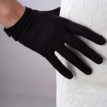 Natural Silk Elastic Gloves Short Paragraph WomenS Milky White Black Sun TB15