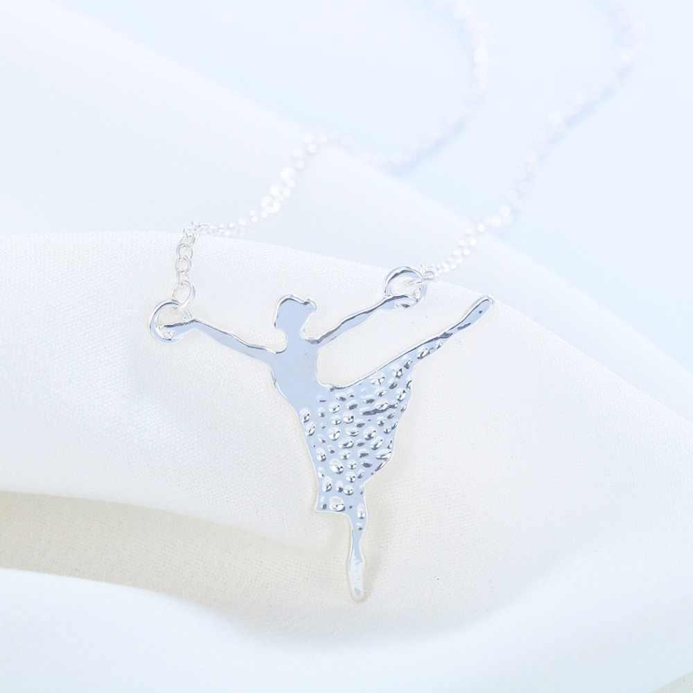 QIMING เครื่องประดับ Minimalist Gold ที่ไม่ซ้ำกันหญิง Ballerina Charm สร้อยคอผู้หญิงบัลเล่ต์ Dance Girl จี้สร้อยคอ Collier