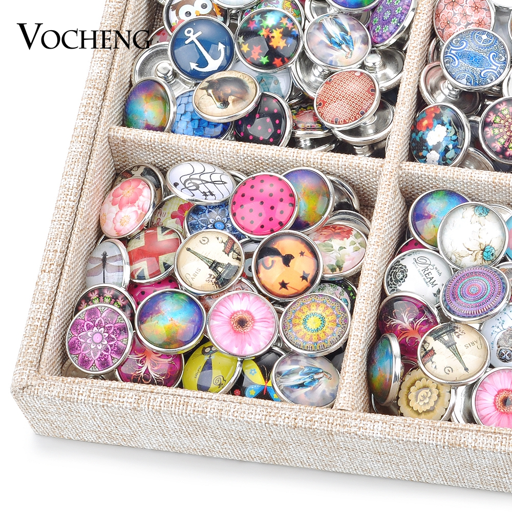 Snap Jewelry Wholesale Mix Sales 50pcs/bag Random 18mm Glass Snap Button Charms Vn-1415