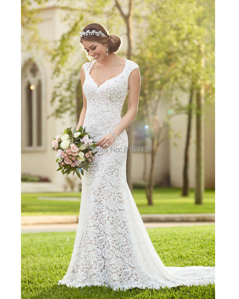 Sweetheart Wedding Dress With Cap Sleeves: Sweetheart A Line Keyhole Back Wedding Dress With Flower