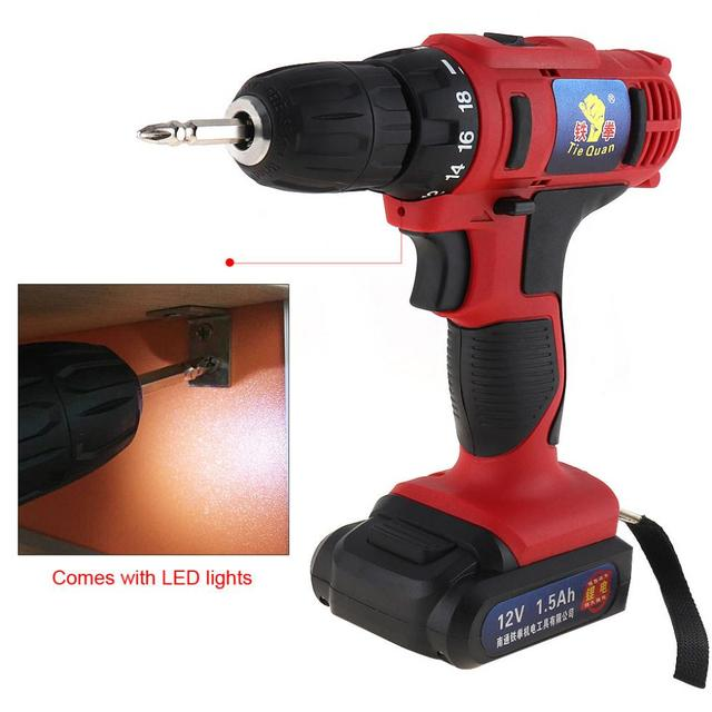 AC 100 - 240V 12V Cordless Electric Drill / Screwdriver with 18 Gear Torque for Handling Screws / Punching 4