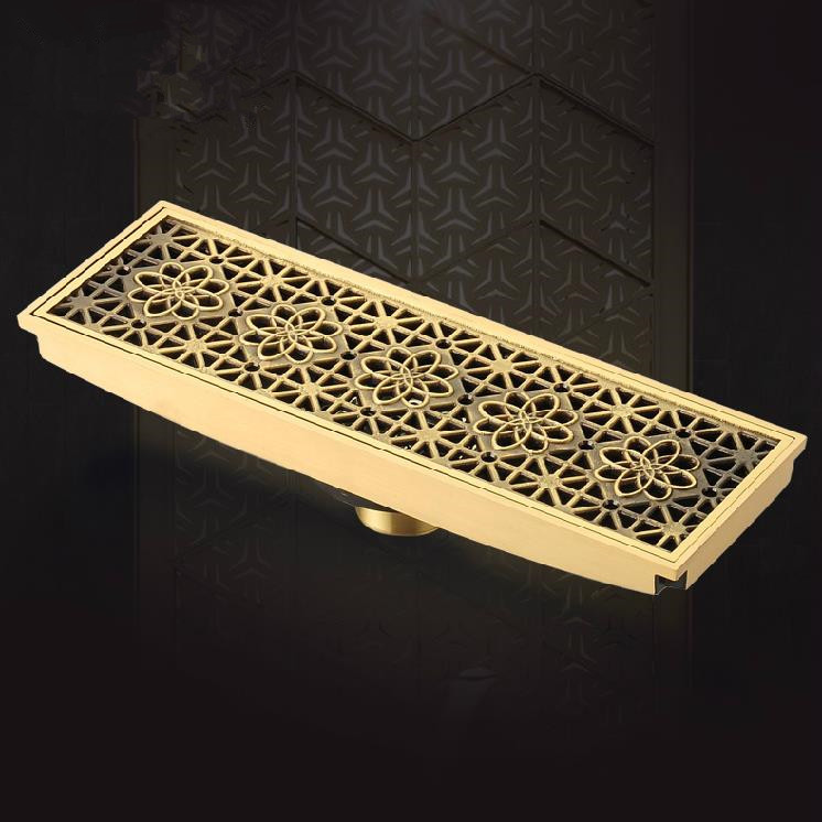 Drains 20cm x 8cm Euro Style Antique Brass Art Carved Floor Drain Cover Shower Waste Drainer Bathroom Accessories  B8029 drains 12 12cm antique brass shower floor drain bathroom deodorant euro square floor drain strainer cover grate waste hj 8702s