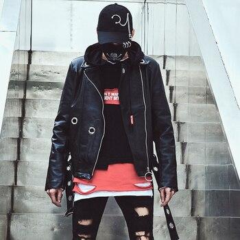 Korean Fashion Street Style Black Coat Casual Wild Leather Jacket Super Handsome PU Leather Jacket High Quality