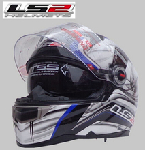 LS2 Helmets LS2 FF396 fiberglass full-face motorcycle helmet dual lens with a balloon full of high-end helmet / Blue Wind