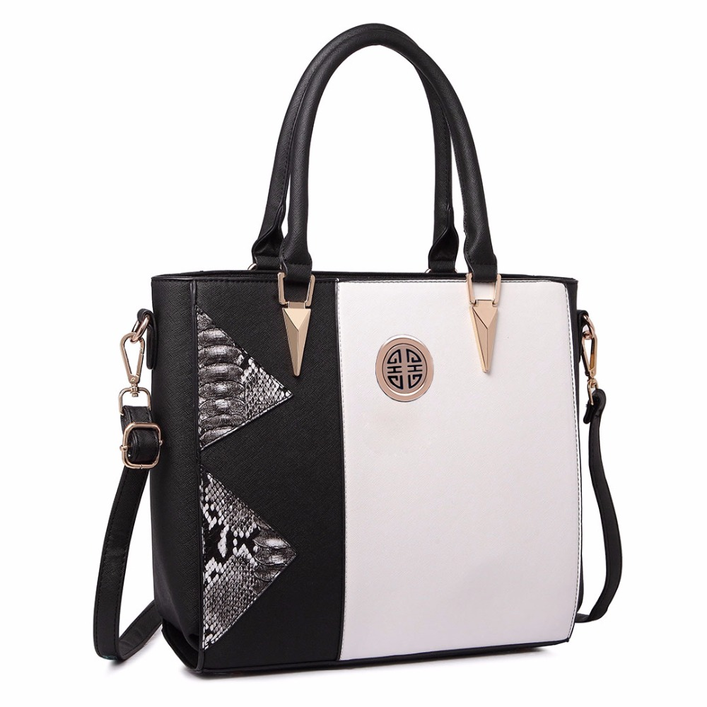 a3ac023ee7b MISS LULU Women Designer Celebrity Black Snake Skin Leather Handbag Large  A4 Book Shoulder Satchel Tote Hand Bag LT1654 BK