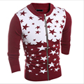 2016 Autumn Winter Men's Slim O-Collar Five-pointed Star Knitted Cardigan Zipper Sweater Men's Patchwork Color Sweaters
