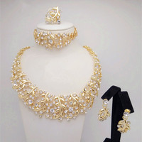 2015 Q P 18 K Gold Plated Nigerian Wedding African Beads Jewelry Set Crystal Big Jewelry