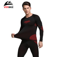 VEOBIKE Cycling Winter Warm Thermal Underwear Long Sleeve Breathable Windproof Tight Jerseys Sportswear Sets Cycling Base Layers