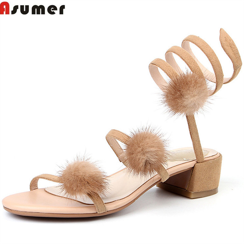 ASUMER 2018 fashion summer new shoes woman square heel sandals women suede leather med  heels casual elegant black apricotASUMER 2018 fashion summer new shoes woman square heel sandals women suede leather med  heels casual elegant black apricot