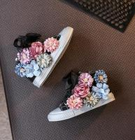 High Top Flower Girls Canvas Shoes Beading Kids Shoes 2019 Autumn Children's Shoes Korean Casual Sneakers Sider Zipper