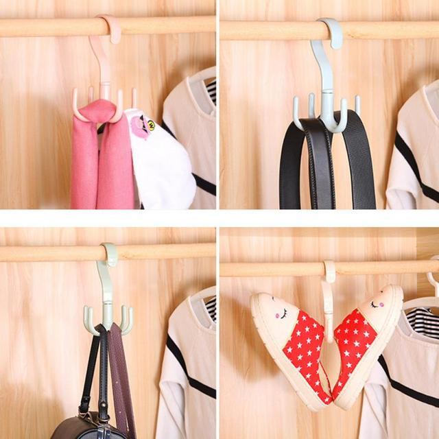 Creative Rotate Hook Belt Tie Bag Scarf Closet Organizer Holder Hanger Rack  Kitchen Bedroom Towel Hanger