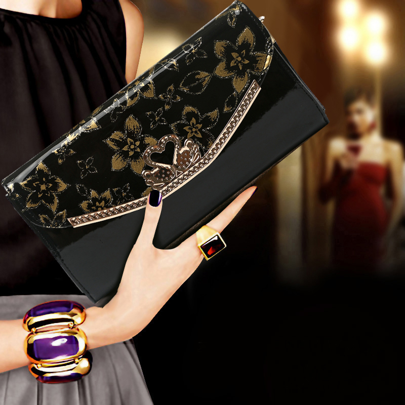 New Elegant Woman Evening Bag Women PU Leather Clutches Day Clutch Wallet Purse Party Banquet Long Chain Shoulder Bags Handbag