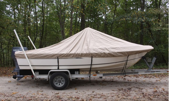 600D PU Coated Heavy Duty Trailerable Boat Cover 18 7 19 6 X102 BAY STYLE V