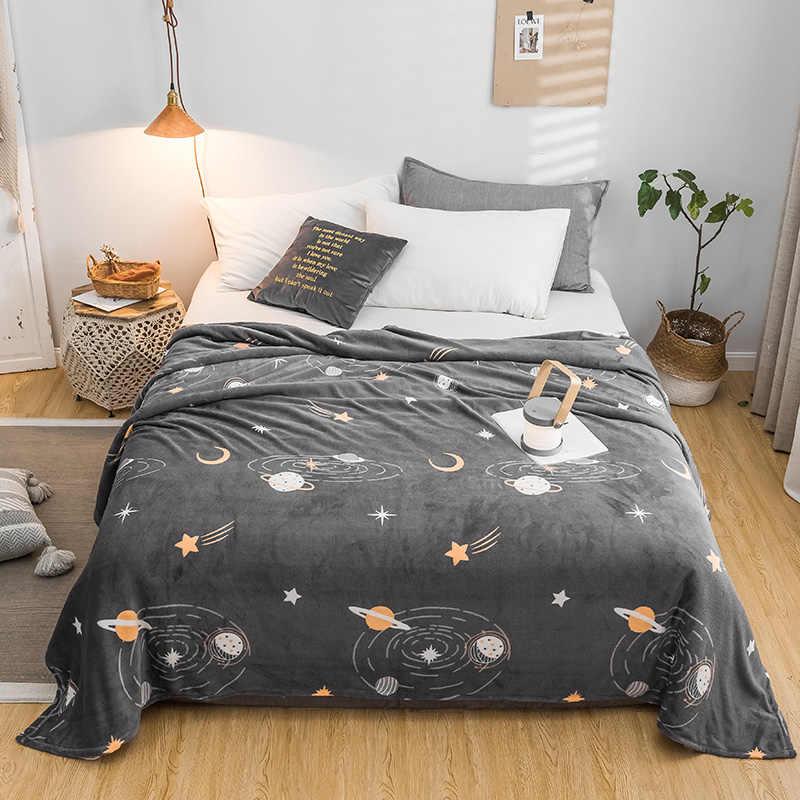 LREA The universe of stars коралловый флис покрывала одеяло для кроватей зимние домашние текстильные украшения для детей или взрослых