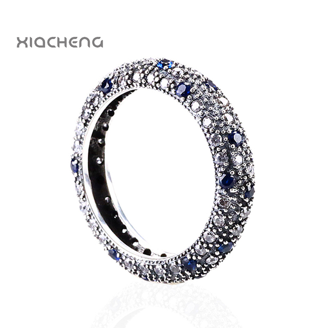 Authentic 925 Sterling Silver Ring Wedding Party Rings with Blue CZ Full Crystal  Rings European Style R42