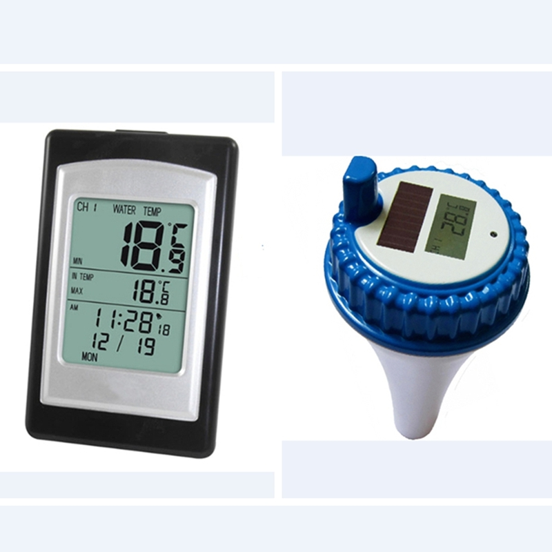 Solar Powered Wireless Pool Thermometer Swim SPA Pond Tub Waterproof Digital LCD Backlit Floating Temperature Transmitter Meter