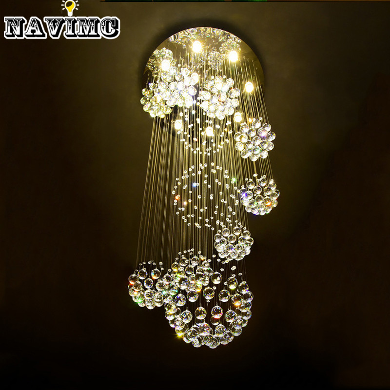 Modern large crystal chandelier light fixture for lobby staircase modern large crystal chandelier light fixture for lobby staircase stairs foyer long spiral crystal light lustre ceiling lamp in chandeliers from lights aloadofball
