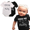Feed Me Tell ME Pretty Baby Girl Boy Bodysuits short-sleeve Baby Clothing set Newborn Bodysuits Cotton Infant Summer Clothes W5