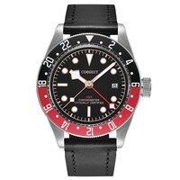 Corgeut 41mm Herren Automatische Uhr Schwarz Rot Drehbare Lünette Rot GMT Hand Uhr Sapphire Glas Schwarz Strap Uhren CA2031RBR Mechanische Uhren    -