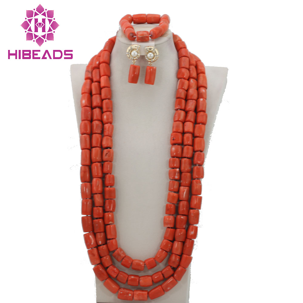 Luxury African Coral Beads Bridal Jewelry Set Long Coral Necklace Jewelry Set High Quality Free Shipping  CNR243Luxury African Coral Beads Bridal Jewelry Set Long Coral Necklace Jewelry Set High Quality Free Shipping  CNR243