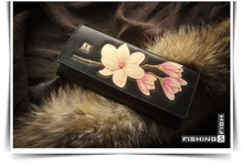 free shipping Plant tanned leather personality tailored stereo flower long black purse Pure manual long purse Original design