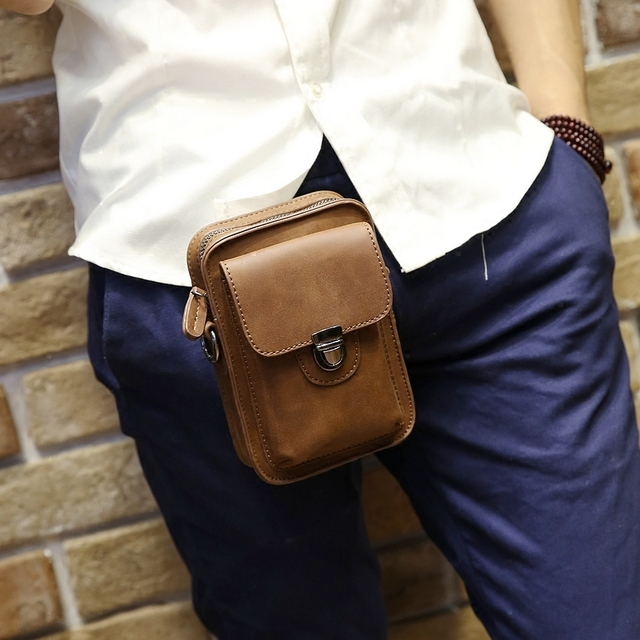 Brand Fashion ! Crazy Horse PU Leather Men Small Waist Pack Mobile Phone Case Travel Bags Small Men's Belt Bag Black Brown XP458