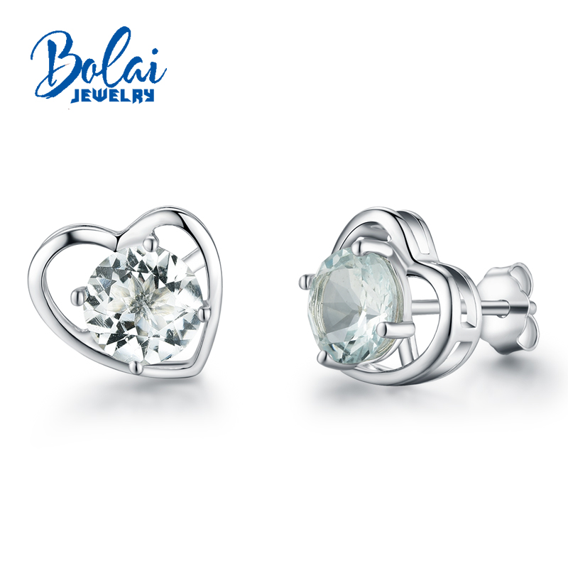 Bolaijewelry,Natural Aquamarine gemstone earring heard classic earrings in 925 sterling sliver for girls as engagement giftBolaijewelry,Natural Aquamarine gemstone earring heard classic earrings in 925 sterling sliver for girls as engagement gift