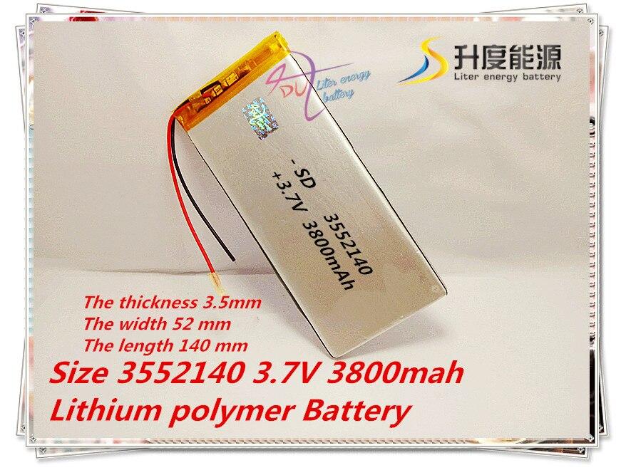 Digital Batterien Sonnig Liter Energie Batterie Neue 3552140 3,7 V 3800 Mah Lithium-polymer-batterie Akku Kaufen Sie Immer Gut