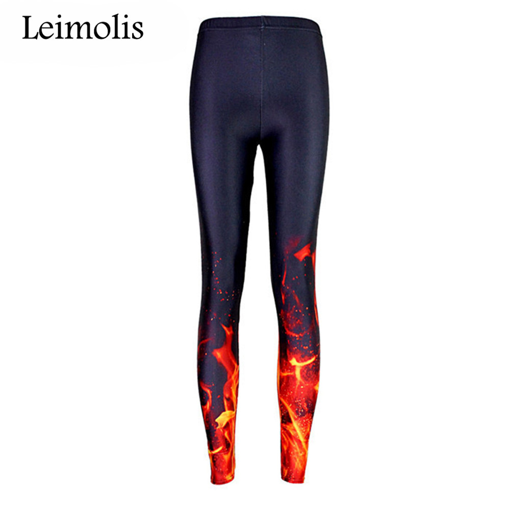 LEIMOLIS 3D Print Gothic Blaze Fire Black Harajuku Fitness Push Up Workout Leggings Women Plus Size High Waist Punk Rock Pants