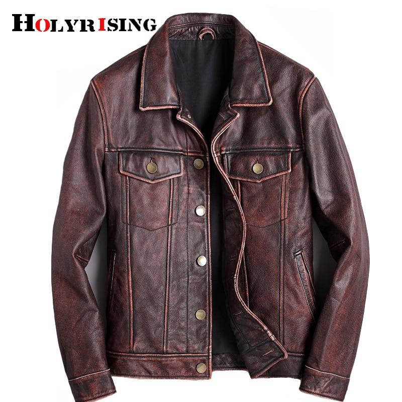 mens cowhide jacket Vintage Men 100 genuine leather Jackets Cow Jackets Zipper Stand Streetwear Leisure cool Innrech Market.com