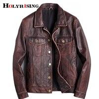 mens cowhide jacket Vintage Men 100% genuine leather Jackets Cow Jackets Zipper Stand Streetwear Leisure cool warm coat 18687 5