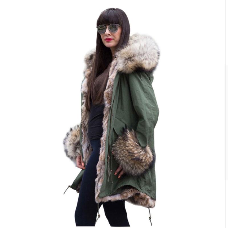 2017 American Women's Army Green Luxury Large Raccoon Fur Collar Cuff Hooded Coat Parkas Outwear Camouflage Long Winter Jacket luxury finland raccoon fur hooded 90