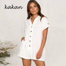 Kakan summer new womens shirt button jumpsuit fashion casual no belt white khaki black pink brick red