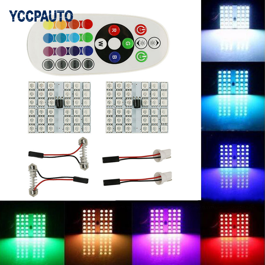 T10 Festoon Dome RGB LED Panel Car Auto Interior Reading Map Lamp Bulb Inner Light w/ Remote Control 36led Flash Strobe 16 Color guangdian car led light auto interior light kit roof vanity light glove foot trunk cargo lamp t10 festoon for kia ceed 2006 2015